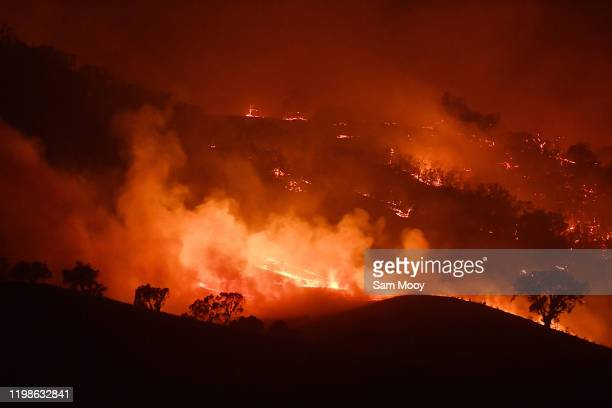 General view of the Dunn Road fire on January 10, 2020 in Mount Adrah, Australia. NSW is bracing for severe fire conditions, with high temperatures...