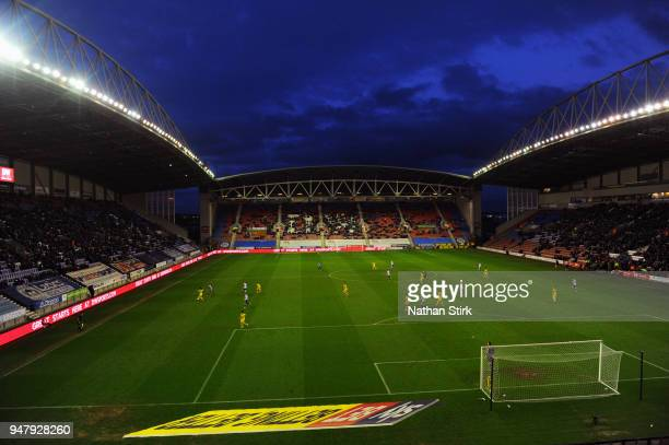 General view of the DW Stadium during the Sky Bet League One match between Wigan Athletic and Oxford United at DW Stadium on April 17 2018 in Wigan...