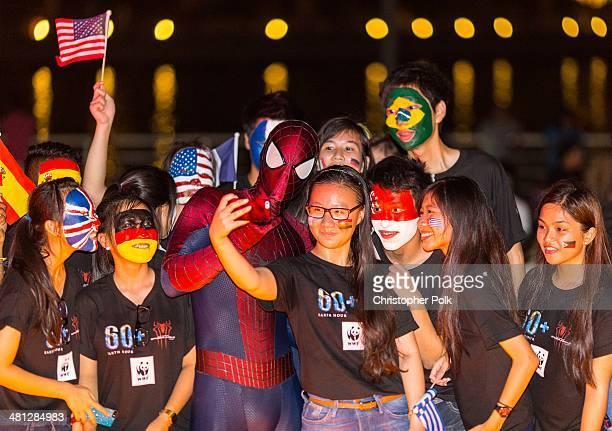 A general view of the Earth Hour KickOff with SpiderMan The First Super Hero Ambassador for Earth Hour the global movement organized By WWF on March...
