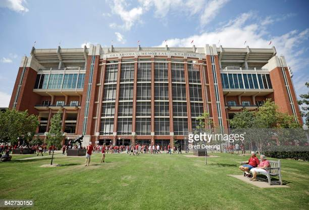 A general view of the east side of the stadium before the game against the UTEP Miners at Gaylord Family Oklahoma Memorial Stadium on September 2...