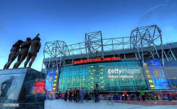 General view of the East Stand at Old Trafford, the home of Manchester United before the UEFA Champions League match between Manchester United and...