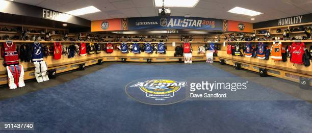 A general view of the Eastern conference AllStar locker room is seen before the 2018 GEICO NHL AllStar Skills Competition at Amalie Arena on January...