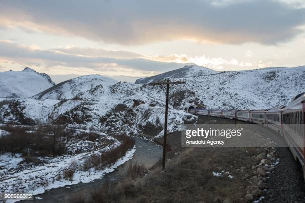 A general view of the Eastern Express' route which travels from Ankara to Kars in Kars Turkey on January 13 2018 With the starting of winter season...