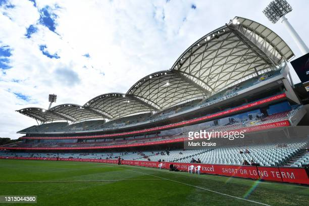 General view of the Eastern Stands as crowd start to arrive before start of the round five AFL match between the Adelaide Crows and the Fremantle...