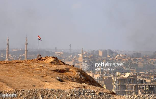A general view of the eastern Syrian city of Deir Ezzor during an operation by Syrian government forces against Islamic State group jihadists on...