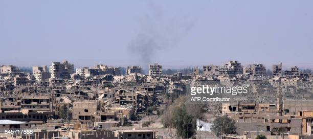 A general view of the eastern Syrian city of Deir Ezzor on September 11 2017 as Syrian government forces continue to press forward with Russian air...