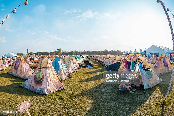 A general view of the Easy Tents Area during the second day of the Tomorrowland music festival at Parque Maeda Itu on April 22 2016 in Sao Paulo...