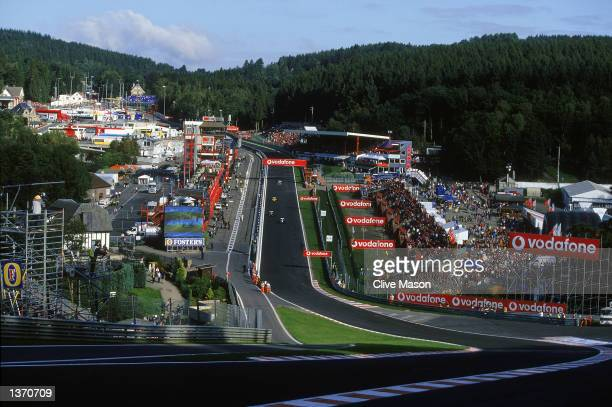 General View of the 'Eau Rouge' corner and the StartFinish Straight during the Belgian Grand Prix at the Spa racing circuit in Francorchamps Belgium...