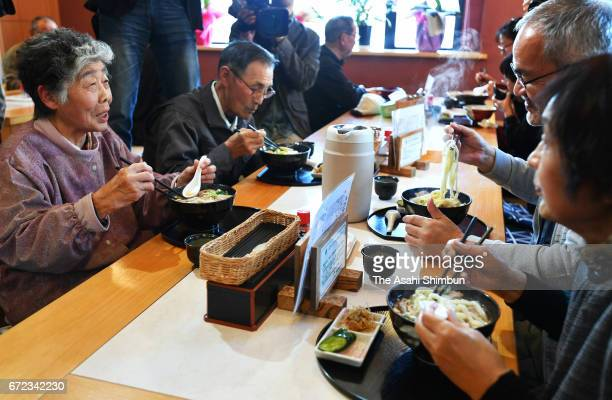 A general view of the 'EbisuAn' Udon noodle restaurant on the reopening day on April 23 2017 in Iitate Fukushima Japan The restaurant becames the...