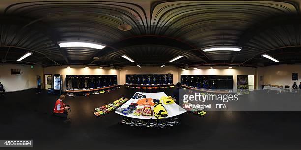General view of the Ecuador dressing room before the 2014 FIFA World Cup Brazil Group E match between Switzerland v Ecuador at Estadio Nacional on...