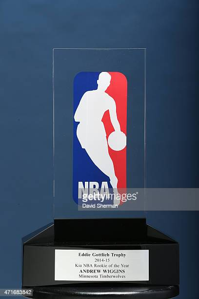 General view of the Eddie Gottlieb Trophy presented to Andrew Wiggins of the Minnesota Timberwolve the 2014- 2015 Kia NBA Rookie of the Year Award on...
