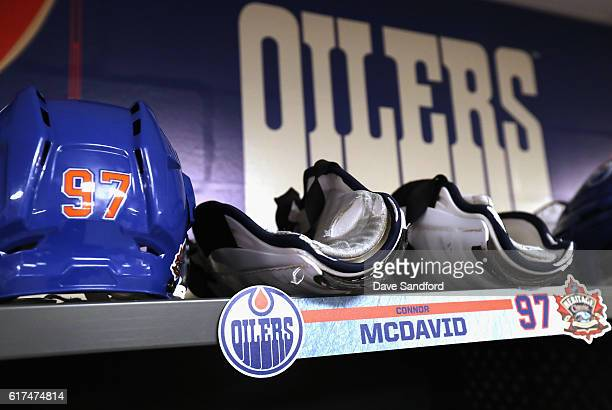 A general view of the Edmonton Oilers locker room before the start of the 2016 Tim Hortons NHL Heritage Classic between the Edmonton Oilers and the...