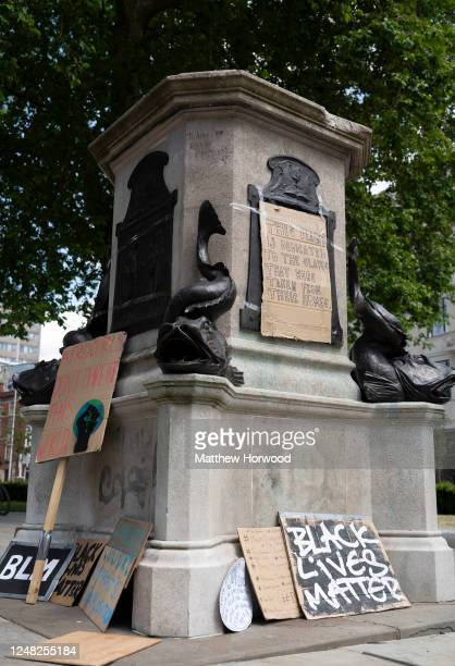 A general view of the Edward Colston statue plinth on June 8 2020 in Bristol England Yesterday protesters in Bristol toppled the statue of Edward...