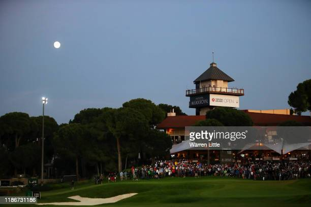 General view of the eighteenth green in the playoff during Day Four of the Turkish Airlines Open at The Montgomerie Maxx Royal on November 10 2019 in...