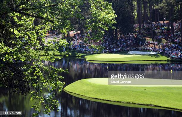 General view of the eighth and ninth green are seen during the Par 3 Contest prior to the Masters at Augusta National Golf Club on April 10, 2019 in...