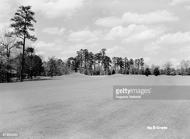 A general view of the eighth green during the 1948 Masters Tournament at Augusta National Golf Club in April 1948 in Augusta Georgia