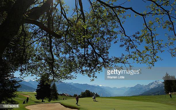 A general view of the eighth green during the Pro Am prior to the start of The Omega European Masters at CransSurSierre Golf Club on September 1 2010...