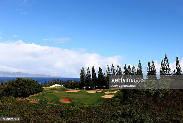 A general view of the eighth hole during practice rounds prior to the Hyundai Tournament of Champions at the Plantation Course at Kapalua Golf Club...