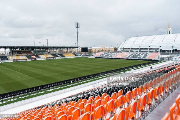 A general view of the Ekaterinburg Uralmash stadium It was built because the central stadium was under construction Homeground of FC Ural...