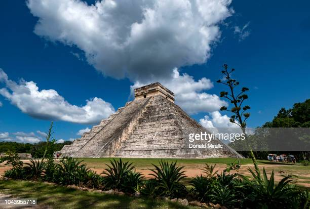 A general view of the El Castillo pyramid on September 30 2018 in Chichen Itza Mexico Chichen Itza was one of the largest Maya cities and it was...