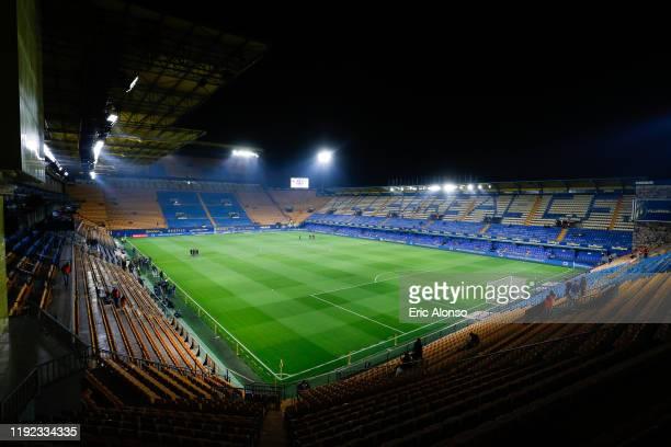 General view of the 'El Madrigal' Stadium before the Liga match between Villarreal CF and Club Atletico de Madrid at Estadio de la Ceramica on...