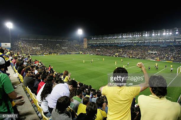 General view of the El Madrigal Stadium during the Champions League Quarter Final Second Leg match between Villarreal and Inter Milan at the El...