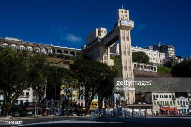 A general view of the Elevador Lacerda amidst the coronavirus pandemic on August 15 2020 in Salvador Brazil The Lacerda Elevator is part of the...