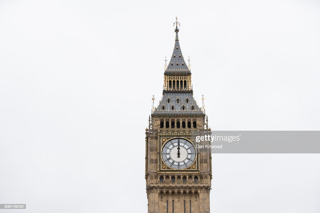 A general view of the Elizabeth Tower as people gather in Parliament Square to listen to the final chimes of Big Ben ahead of a four-year renovation plan, on August 21, 2017 in London, England. The bell will still be used for special occasions such as marking New Year, but will remain silent on a daily basis, to allow the work teams to carry out structural repairs.