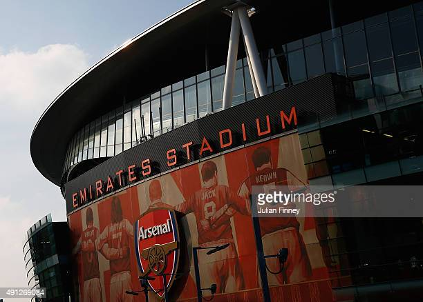 A general view of the Emirates ahead of the Barclays Premier League match between Arsenal and Manchester United at Emirates Stadium on October 4 2015...
