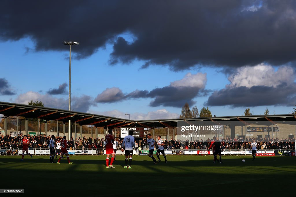 A general view of The Emirates FA Cup first round match between Dartford and Swindon Town at the Princes Park Stadium on November 5, 2017 in Dartford, England.