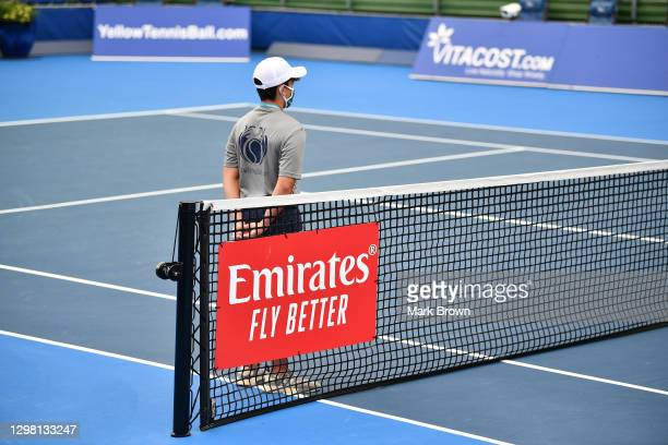 General view of the Emirates logo on the net prior to the Doubles Semifinals of the Delray Beach Open by Vitacost.com at Delray Beach Tennis Center...