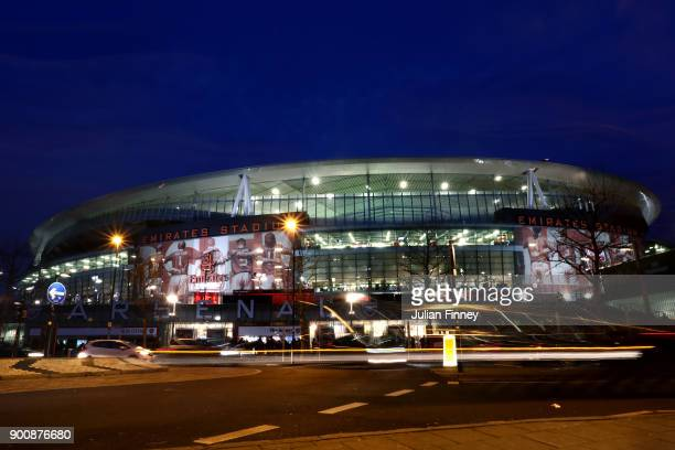 A general view of the Emirates Stadium ahead of the Premier League match between Arsenal and Chelsea at Emirates Stadium on January 3 2018 in London...