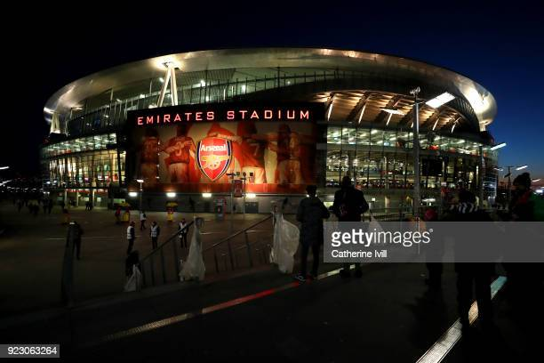 A general view of the Emirates Stadium ahead of the UEFA Europa League Round of 32 match between Arsenal and Ostersunds FK at the Emirates Stadium on...