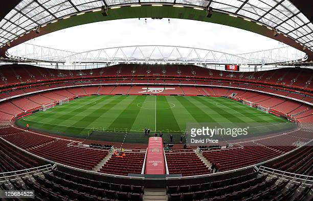 A general view of the Emirates Stadium before the Carling Cup Third Round match between Arsenal and Shrewsbury Town at Emirates Stadium on September...