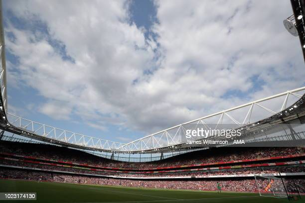A general view of the Emirates Stadium home stadium of Arsenal during the Premier League match between Arsenal FC and West Ham United at Emirates...