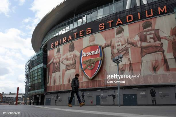 A general view of the Emirates Stadium home to Arsenal Football Club on March 13 2020 in London England It has been announced that all football...