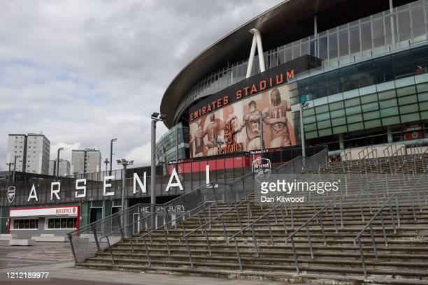 General view of the Emirates Stadium, home to Arsenal Football Club on March 13, 2020 in London, England. It has been announced that all football...