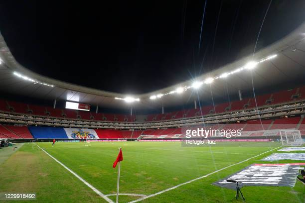 General view of the empty Akron stadium before the semifinal first leg match between Chivas and Leon as part of the Torneo Guard1anes 2020 Liga MX at...