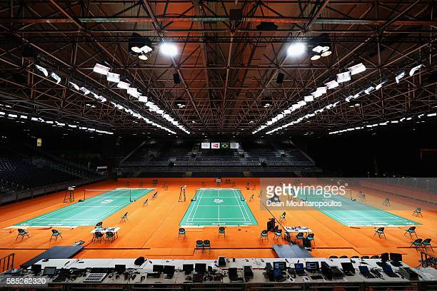 A general view of the empty badminton courts during the Olympics preview day 3 at Rio Centro on August 2 2016 in Rio de Janeiro Brazil