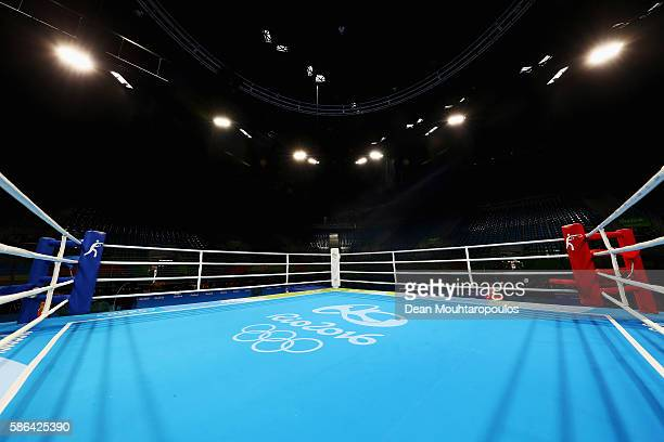 A general view of the empty boxing ring with official logo on the mat prior to Day 1 of the Rio 2016 Olympic Games at Riocentro Pavilion 6 on August...