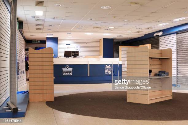 A general view of the empty club shop at Bury Football Club's stadium at Gigg Lane on August 13 2019 in Bury England