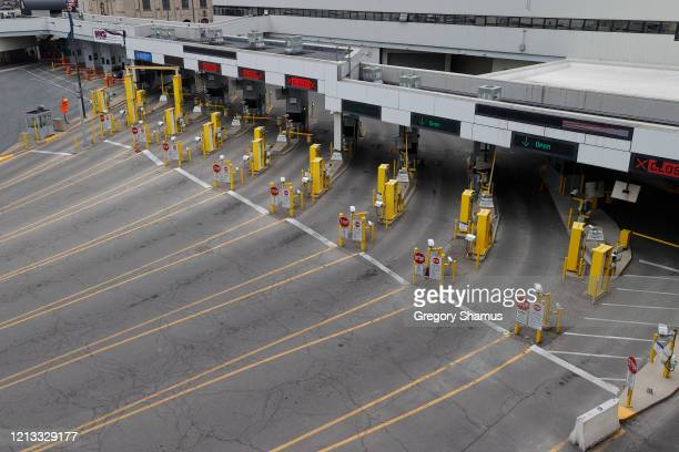General view of the empty Detroit–Windsor Tunnel custom lanes that connects Detroit and Windsor Canada on March 18 2020 in Detroit Michigan The US...