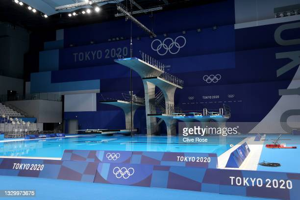 General view of the empty diving pool during aquatics training at the Tokyo Aquatics Centre ahead of the Tokyo 2020 Olympic Games on July 22, 2021 in...