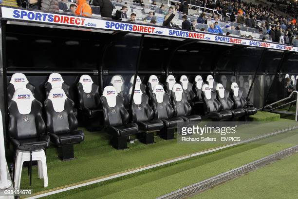 A general view of the empty dugout at St James' Park