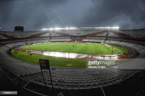 General view of the empty Estadio Monumental Antonio Vespucio Liberti before a Group D match between River Plate and Deportivo Binacional as part of...