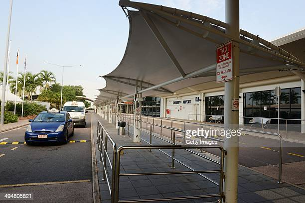 A general view of the empty exterior of Darwin airport on May 31 2014 in Darwin Australia Flights in and out of Darwin have been suspended as...