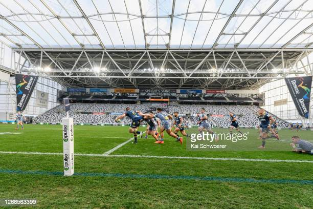 General view of the empty Forsyth Barr Stadium during the round 10 Super Rugby Aotearoa match between the Highlanders and the Hurricanes at Forsyth...