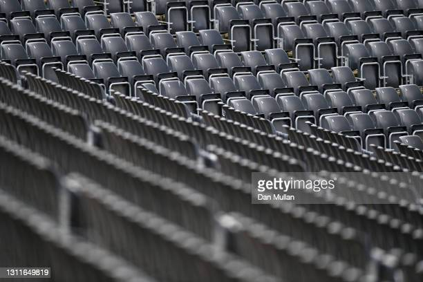 General view of the empty grandstand seating during day two of the LV= Insurance County Championship match between Gloucestershire and Surrey at...