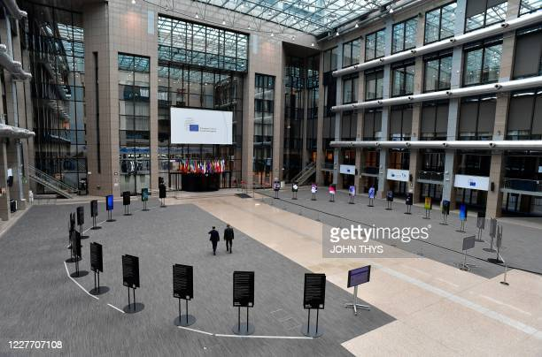 General view of the empty media area in the atrium of the EU Council building on the fourth day of an EU summit in Brussels on July 20 as the leaders...