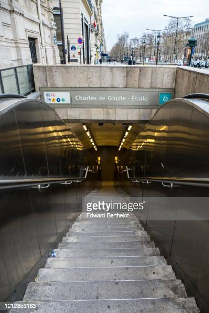 General view of the empty metro station entrance Charles de Gaulle Etoile at Avenue des Champs Elysees in the 8th quarter of Paris as the city...